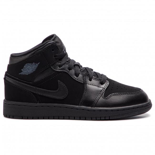 Shoes NIKE Air Jordan 1 Mid (GS) 554725 050 BlackDark GreyBlack