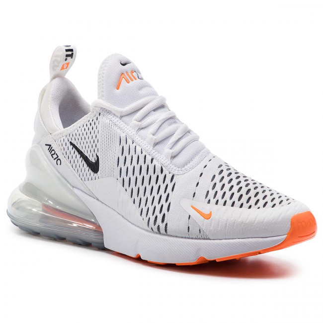 nike air max 270 white/safety orange/black/total orange