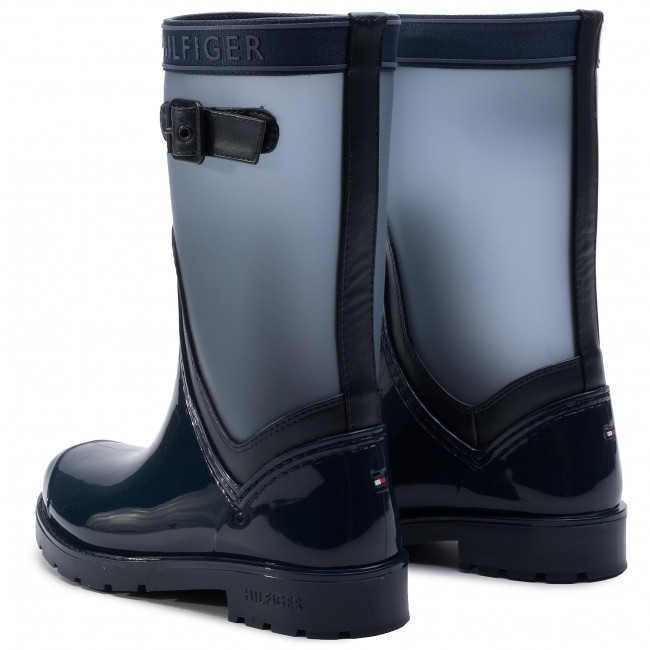 Knit Silber Tommy Rain Gr Boot Shiny 41 Hilfiger Damen Ankle