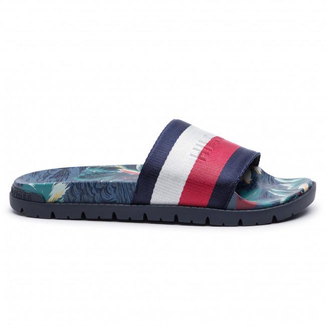 Tommy Hilfiger Tropical Print Mens Red White Blue Textile Slide Sandals 43 EU