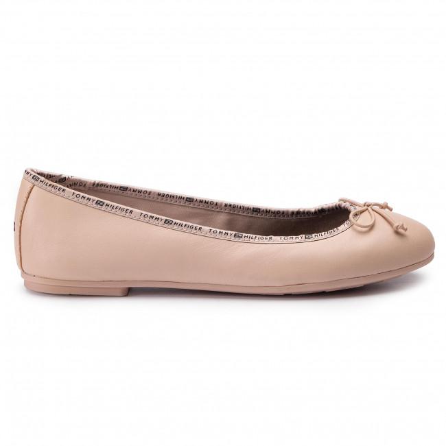 Flats TOMMY HILFIGER Leather Ballerina Tommy Branding FW0FW04439 Cream Tan 904