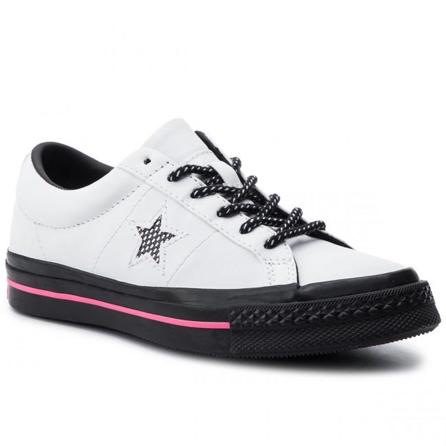 Plimsolls CONVERSE One Star Ox 164223C WhiteBlackRacer Pink