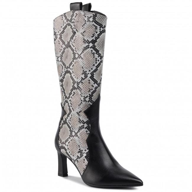 Knee High Boots BALDOWSKI - D02615-7633-001  Skóra Czarna/Pyton Szary Re