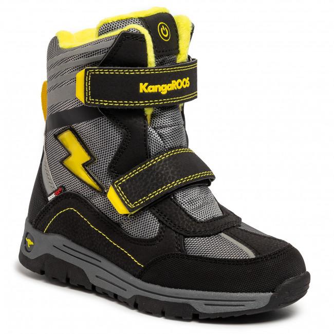 Snow Boots KANGAROOS Snow Flash Boys Sl Rtx 18387 000 5028 Jet BlackSun Yellow