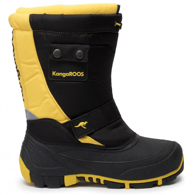 Snow Boots KANGAROOS Kanga Bean II 18416 00 5028 Jet BlackSun Yellow1