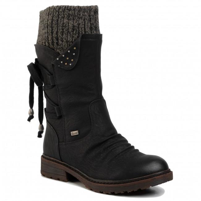 Knee High Boots RIEKER 94773 00 Schwarz Jackboots High B5gUR