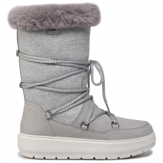 As evidencia collar  Snow Boots GEOX - D Kaula B Abx C D94AWC 032GH C1037 Lt Grey/Dk Grey -  Winter boots - High boots and others - Women's shoes   efootwear.eu