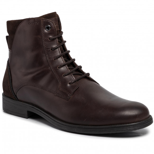 Geox U Jaylon A Mens Leather Ankle Boots Shoes Coffee