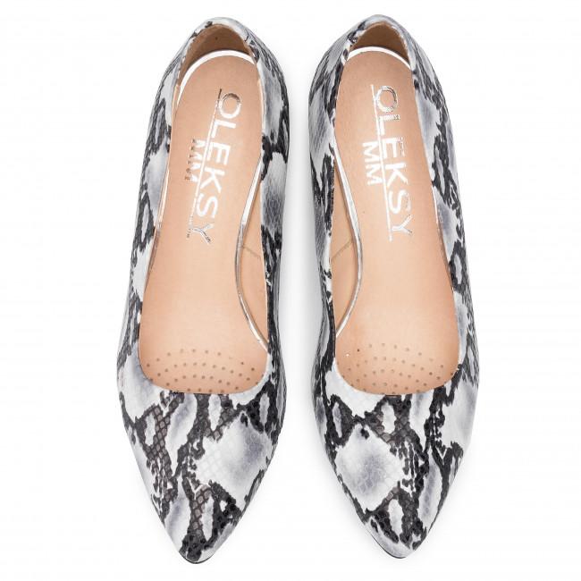 Shoes Oleksy - 649/1 Jaszczurka Czarno Biała 80 Pumps Low Women's