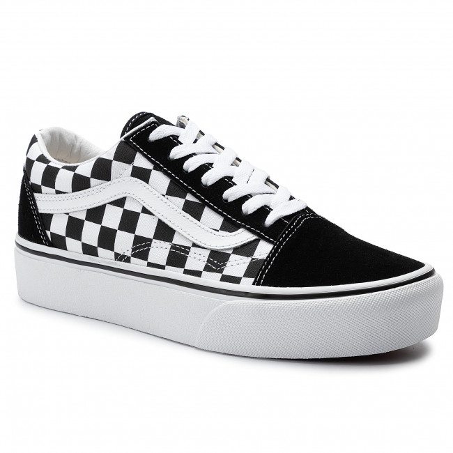 Ladies Boots Shoes Vans Old Skool Checked Platform