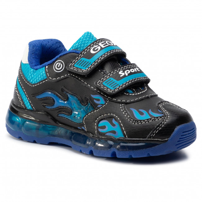 alguna cosa Peaje tal vez  Sneakers GEOX - J Android B. C J9444C 054CE C0035 M Black/Lt Blue - Velcro  - Low shoes - Boy - Kids' shoes   efootwear.eu