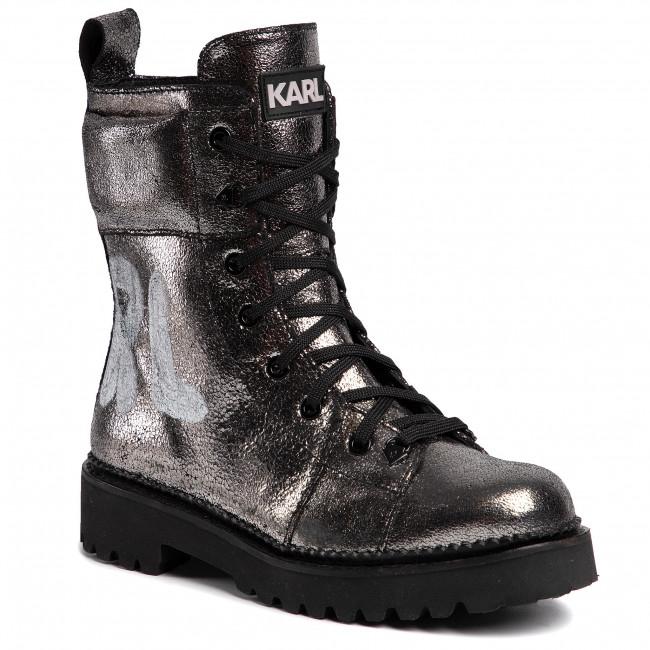 Silver Lagerfeld Karl Lthr Textured Kl42871 Boots HYWIE92D