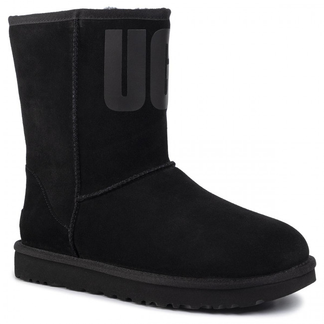 Shoes UGG - W Classic Short Ugg Rubber Logo 1108230 Blk