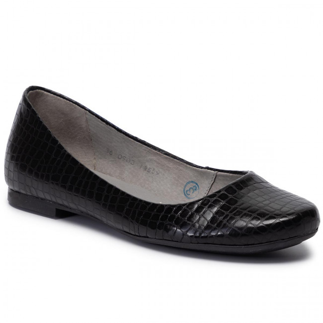 Flats MACIEJKA - 00903-51/00-5 Czarny Krokodyl