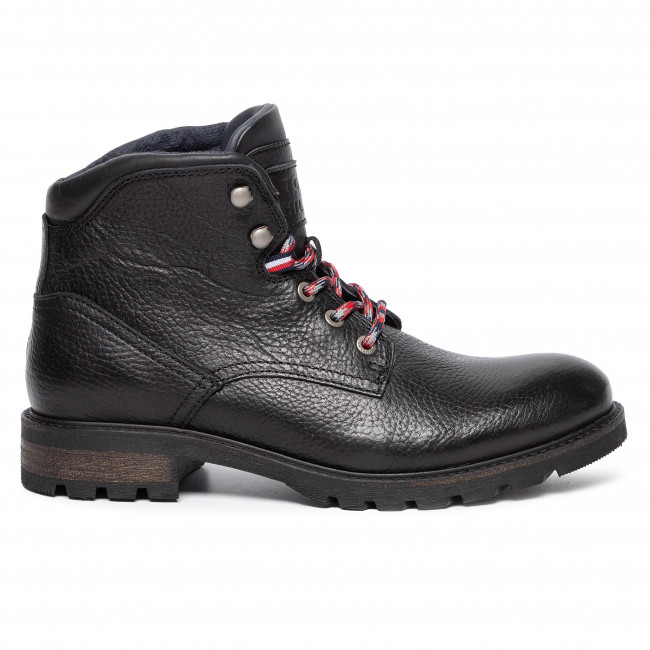 Tommy Hilfiger Winter Textured Mens Black Leather Casual Boots