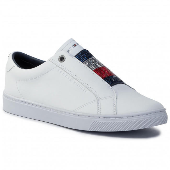 Sneakers TOMMY HILFIGER Cristal Leather Slip On Sneaker FW0FW04513 White YBS