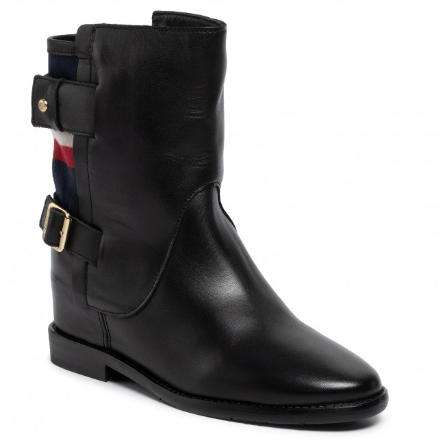 new product 4a42b f928d Boots TOMMY HILFIGER - Modern Blanket Wedge Bootie FW0FW04331 Black 990