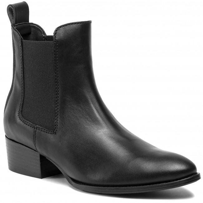 Ankle Boots TOMMY JEANS Pin Logo Mid Heel Chelsea Boot EN0EN00685 Black BDS