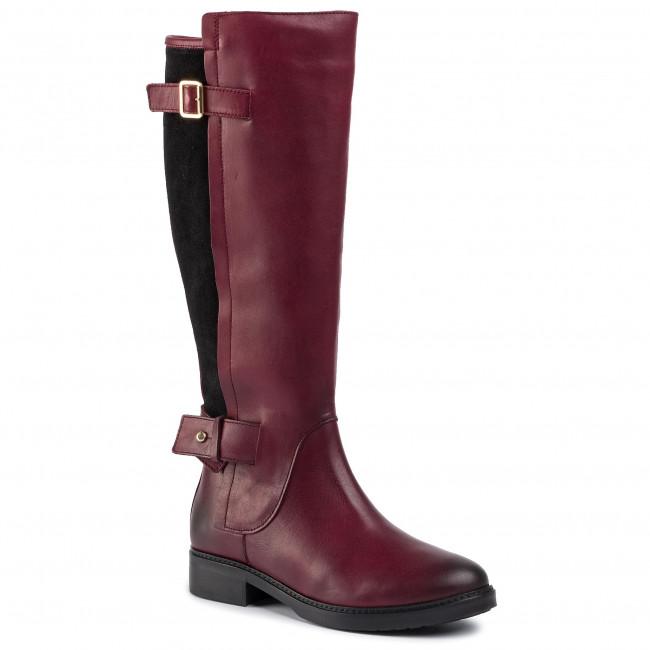 Ladies Truffle Knee High Black Buckle Design Boots
