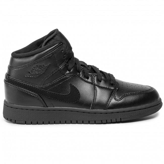 Shoes NIKE Air Jordan 1 Mid (Gs) 554725 090 BlackBlackBlack