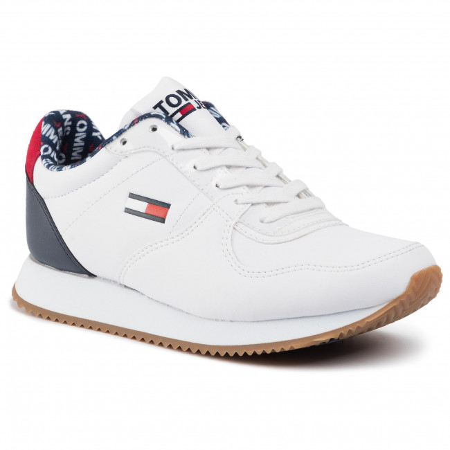Red Trainers Lace Up Sport Casual Shoes Tommy Jeans Casual Mens White Navy