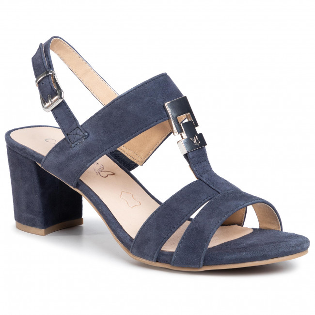 New WOMENS CAPRICE BLACK 28201 LEATHER SANDALS MID HEELS