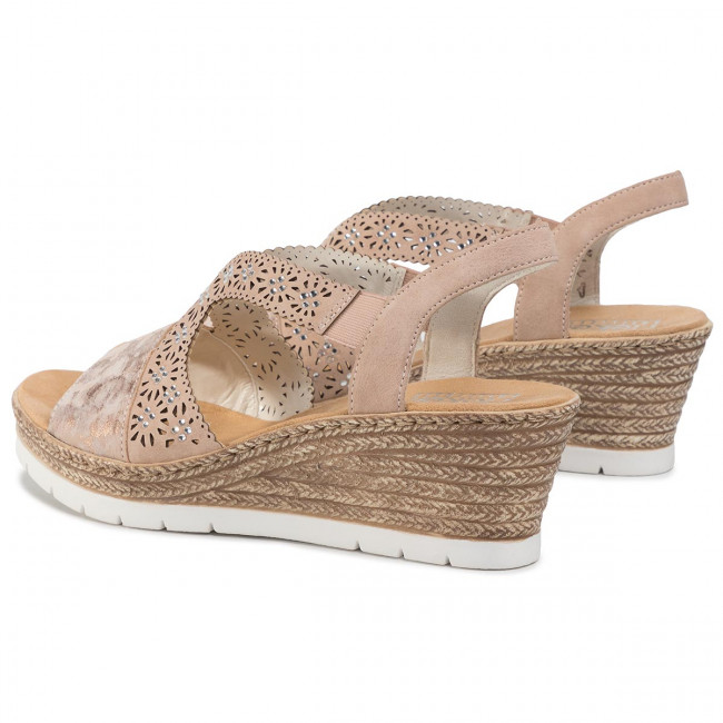Sandals RIEKER 61916 31 Rosa Wedges Mules and sandals 1aq1H