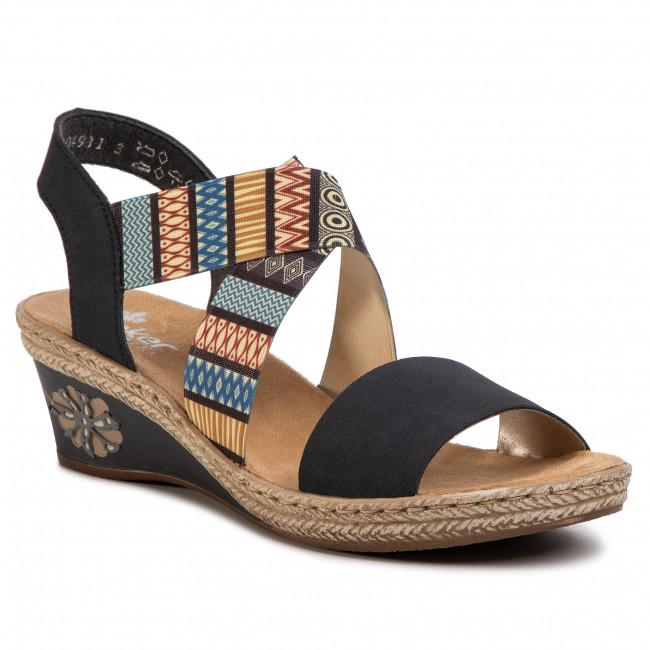 Sandals RIEKER V2418 14 Blau Kombi Wedges Mules and BbBck