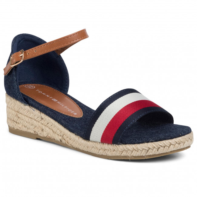 Espadrilles TOMMY HILFIGER - Rope Wedge Sandal T3A2-30656-0048Y Blue/White/Red 004