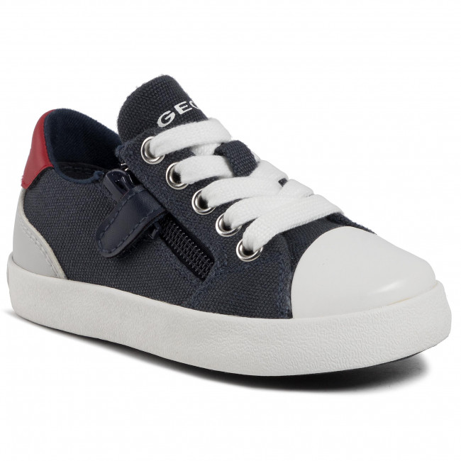 Geox DJ Rock Navy & Red Zip & Lace Leather Boys Pumps