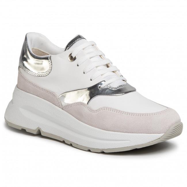 Argento Geox D BACKSIE C D02FLC 085BN C0007 White//Silver Sneakers da Donna