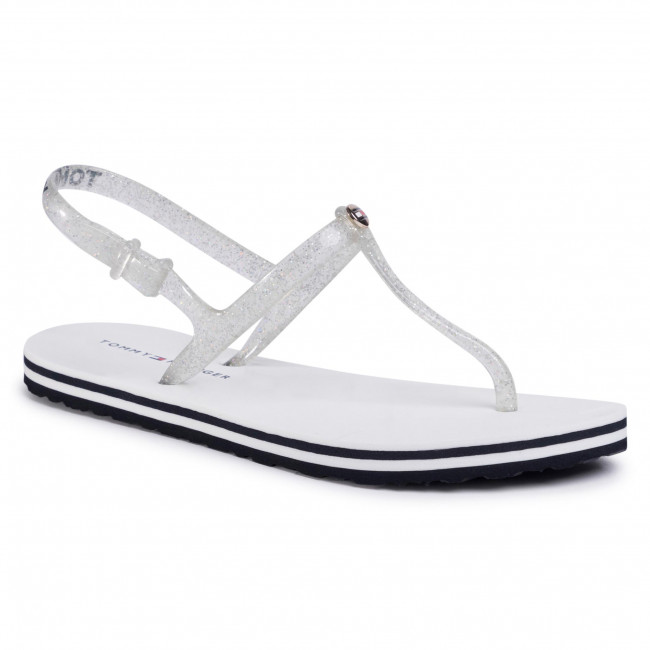 Sandals TOMMY HILFIGER - Irredescent Flat Beach Sandal FW0FW04796 White YBS