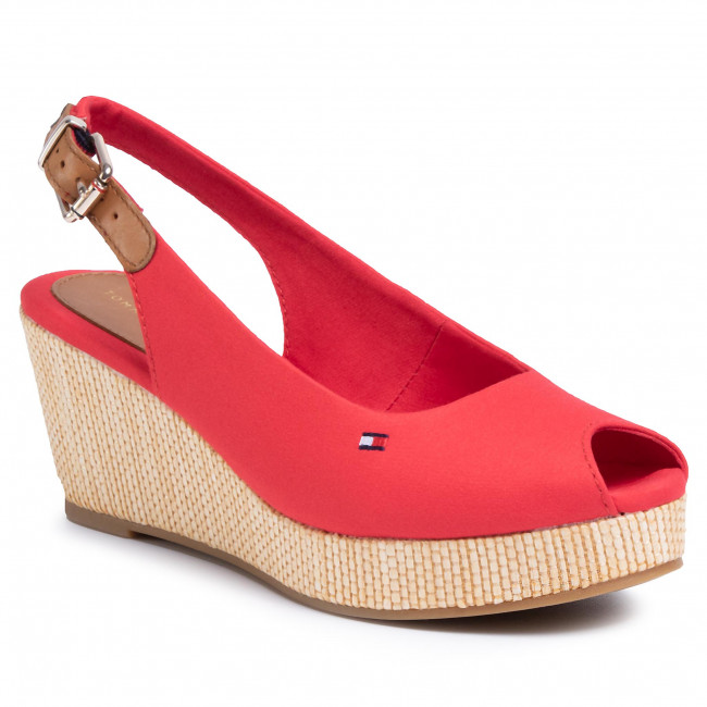 Espadrilles TOMMY HILFIGER - Iconic Elba Sling Back Wedge FW0FW04788 Primary Red XLG