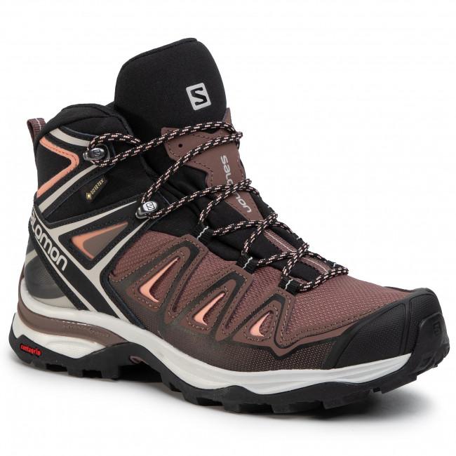 Trekker Boots SALOMON X Ultra 3 Mid Gtx W GORE TEX 408144 25 W0 PeppercornBlackCoral Aimond