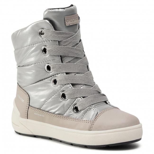 Snow Boots GEOX - J Sleigh G. B J049SB 0LVBC C1222 S Silver/Beige
