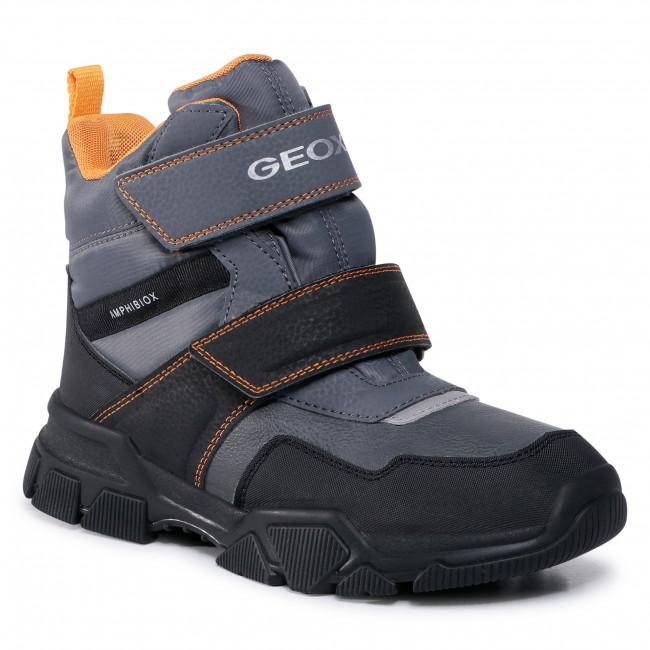 Snow Boots GEOX - J Nevegal B.Abx C J04CSC 0FUFE C0070 D Dk Grey/Yellow