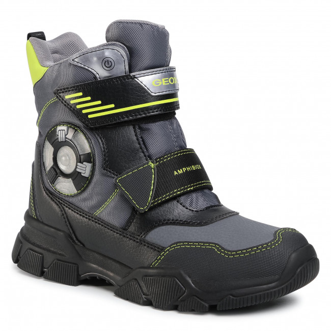 Snow Boots GEOX - J Nevegal B.Abx D J04CSD 0FUFE C1267 DD Dk Grey/Lime