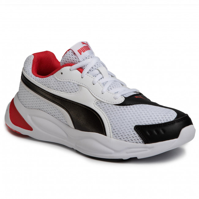 puma white and red sneakers
