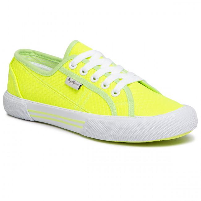 Plimsolls Pepe Jeans Aberlady Fluor Pls30952 Neon Yellow 044 Sneakers Low Shoes Women S Shoes Efootwear Eu