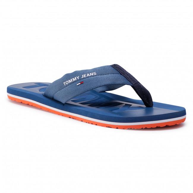 Flip flops TOMMY JEANS - Webbing Beach Sandal EM0EM00474 Audacious Blue CZY