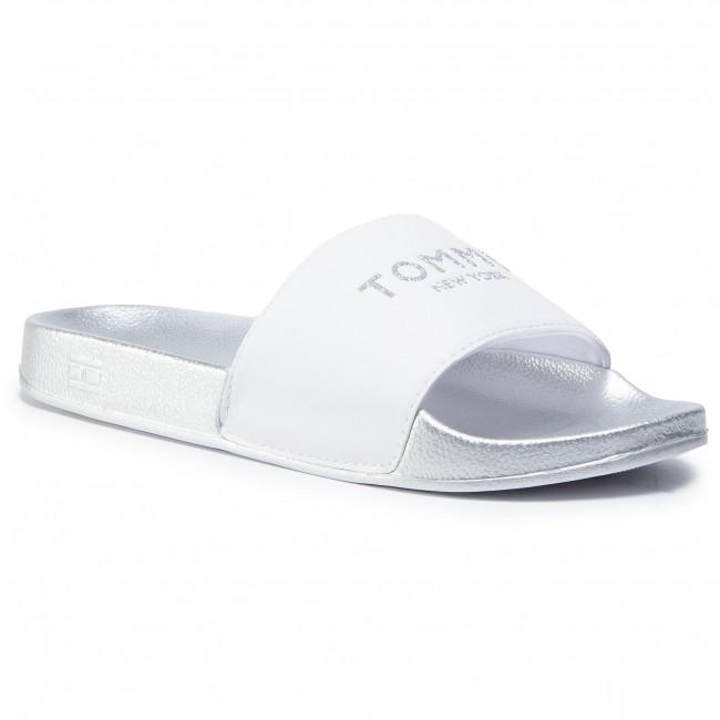 Slides TOMMY HILFIGER - Th Glitter Pool Slide FW0FW04982 White YBR