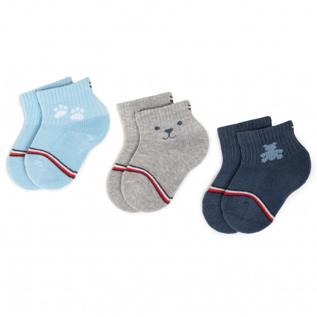 3 Pairs of Kids' High Socks TOMMY HILFIGER - 100000802 Blue Combo 002