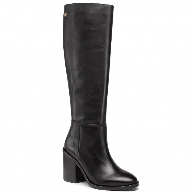 Knee High Boots TOMMY HILFIGER - Shaded Leather Long Boot FW0FW05174 Black BDS