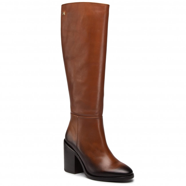Knee High Boots TOMMY HILFIGER - Shaded Leather Long Boot FW0FW05174 Pumpkin Paradise GOW
