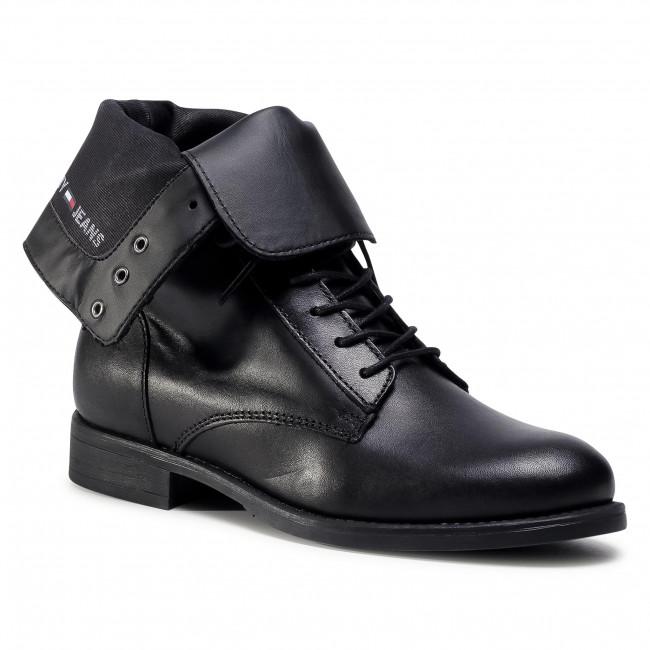 Ankle boots TOMMY JEANS - Essential Dressed Lace Up Boot EN0EN01101 Black BDS
