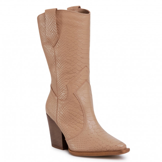 Knee High Boots R.POLAŃSKI - 0994 Camel Lico Crocco