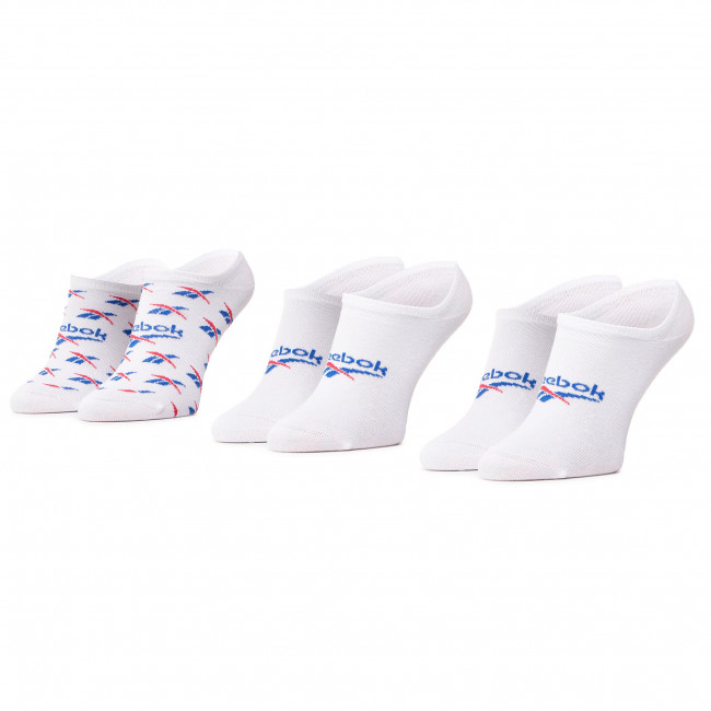 Set of 3 pairs of unisex boat socks Reebok - Cl Fo Invisible Sock 3P GG6680 White/Vecblu/Vecred