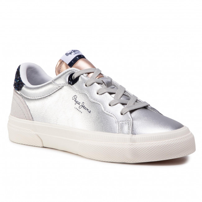 Trainers Pepe Jeans Kenton Classic Girl Pgs30474 Silver 934 Laced Shoes Low Shoes Girl Kids Shoes Efootwear Eu