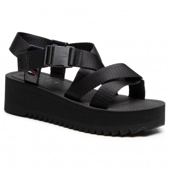 Sandals TOMMY JEANS - Iridescent Strappy Sandal EN0EN01332 Black BDS