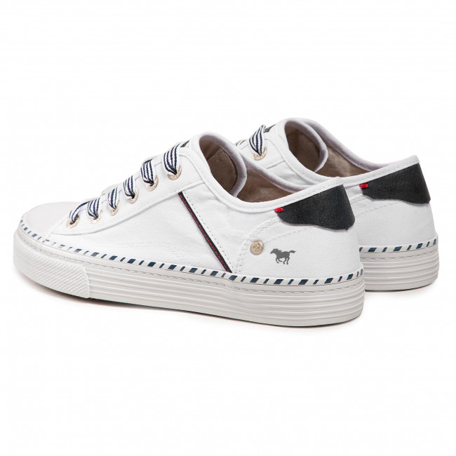 Mustang NEW 1313-301 red white patent ribbon laces fashion trainers sz 4-8